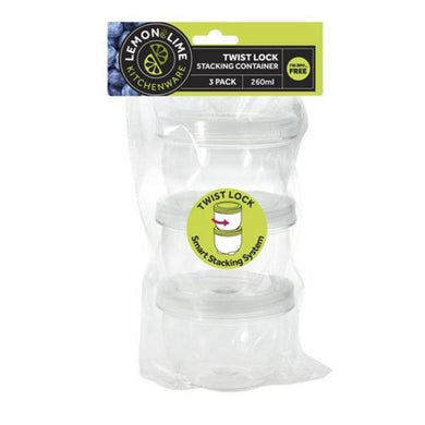 3 Pack Twist-Lock Stacking Containers - 260ml - The Base Warehouse