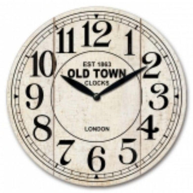 MDF Old Town Wall Clock - 30cm - The Base Warehouse