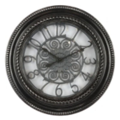 Black Plastic Wall Clock - 50.7cm x 50.7cm x 6cm - The Base Warehouse