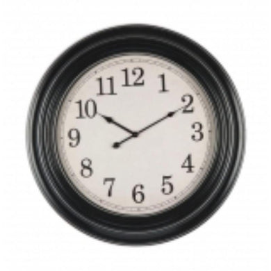 Black Plastic Wall Clock - 61.2cm x 61.2cm - The Base Warehouse