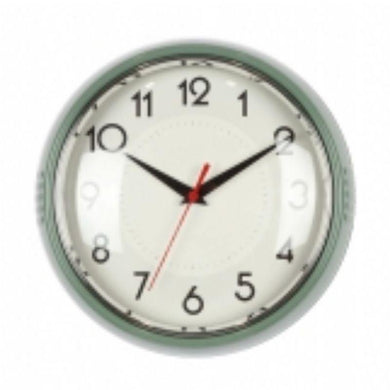 Green Plastic Wall Clock - 24cm x 24cm - The Base Warehouse