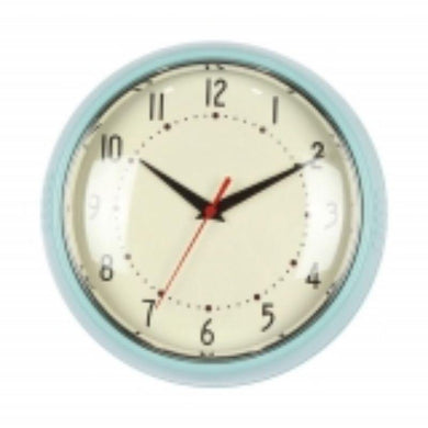 Teal Plastic Wall Clock - 24cm x 24cm - The Base Warehouse