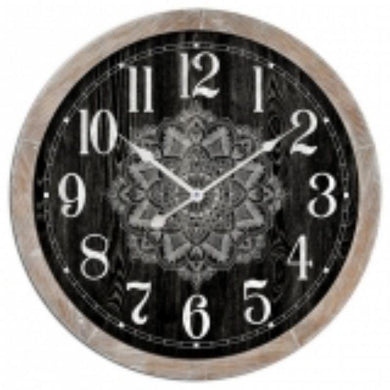 Black MDF Mandala Wall Clock - 60cm x 60cm - The Base Warehouse