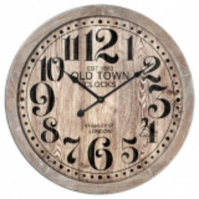 Natural MDF Old Town Wall Clock - 60cm x 60cm - The Base Warehouse