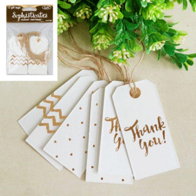 12 Pack Metallic Gold Gift Tags - The Base Warehouse