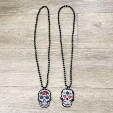 2 Assorted Design Day of the Dead Necklace - The Base Warehouse