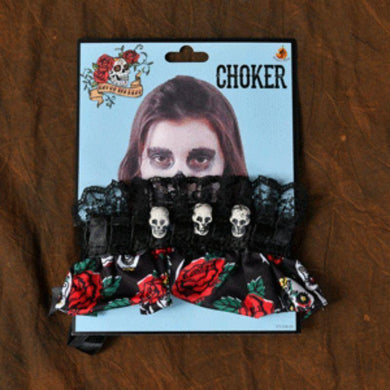 Adult Day of the Dead Choker - The Base Warehouse