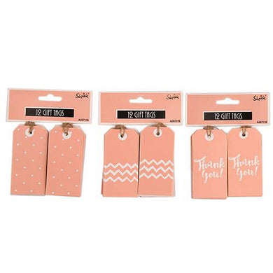 12 Pack Coral Gift Tags - The Base Warehouse