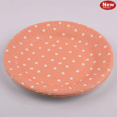 12 Pack Coral Dotty Paper Plates - 23cm - The Base Warehouse
