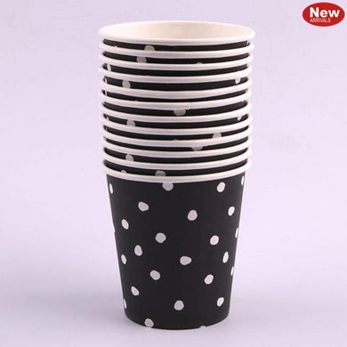 12 Pack Black Dotty Paper Cups - 200ml - The Base Warehouse