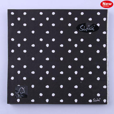 20 Pack Black Dotty Napkins - 33cm x 33cm - The Base Warehouse