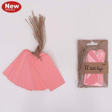 12 Pack Neon Coral Gift Tags - The Base Warehouse