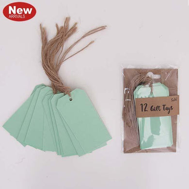 12 Pack Neon Mint Gift Tags - The Base Warehouse