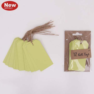 12 Pack Neon Chartreuse Gift Tags - The Base Warehouse