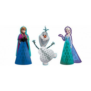 3 Pack Frozen & Olaf Honeycomb Hanging Decoration