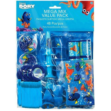 48 Piece Finding Dory Pack - 8 x Puzzles - 8 x Prism Viewers - 8 x Disc Shooters - 8 x Horns - 8 x Mini Tops - 8 x Stickers - The Base Warehouse