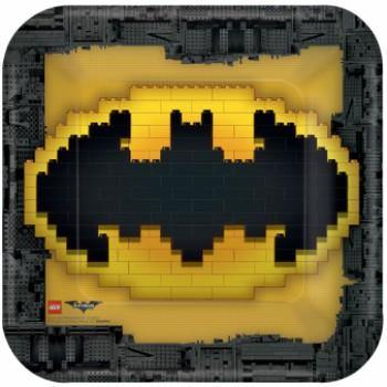 8 Pack Lego Batman Dinner Plates Square - 23cm - The Base Warehouse