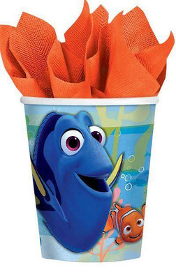 8 Pack Finding Dory Cups Paper - 266ml - The Base Warehouse
