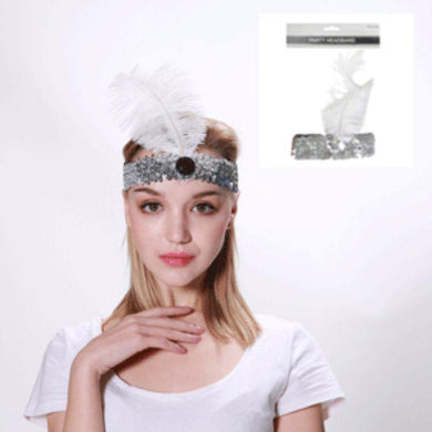 White Flapper Headband - The Base Warehouse