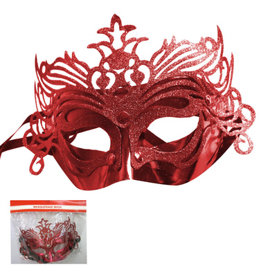 Red Glittered Masquerade Mask - The Base Warehouse