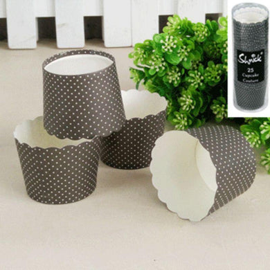 25 Pack Black Mini Dotty Baking Cups - The Base Warehouse