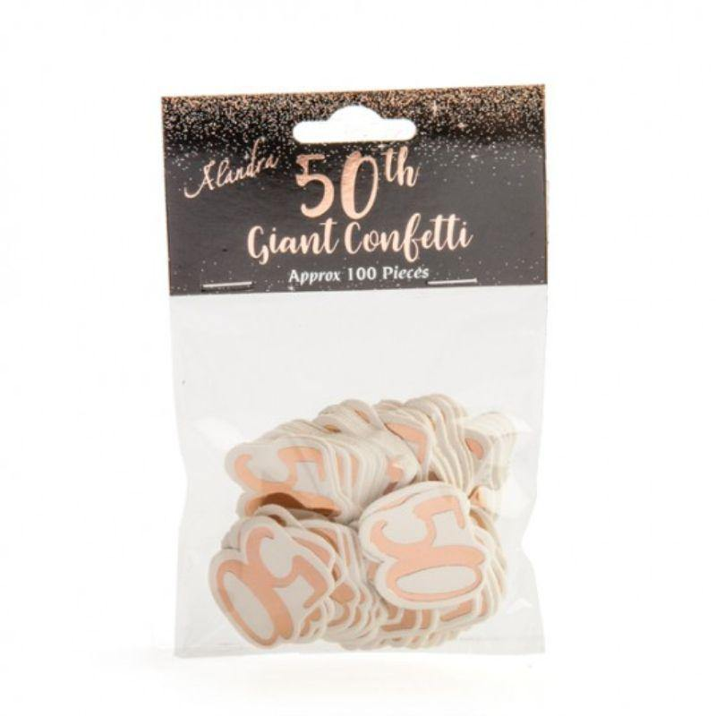 100 Pieces Rose Gold 50 Confetti - 10cm x 10cm x 5cm - The Base Warehouse