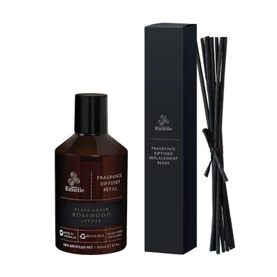 Black Amber, Rosewood & Cedar Fragrance Diffuser Refill & Reeds - 250ml - The Base Warehouse