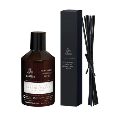 White Lotus, Geranium Leaf & Bergamot Fragrance Diffuser Refill & Reeds - 250ml - The Base Warehouse