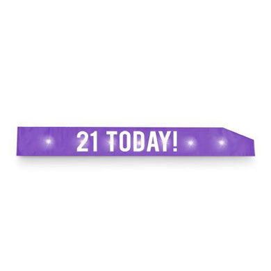 Flashing Purple with White Text 21 Today Sash - The Base Warehouse