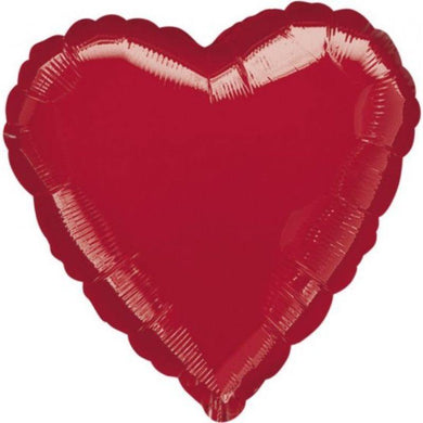 Metallic Red Heart Foil Balloon - 45cm - The Base Warehouse