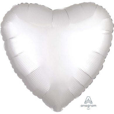 Satin Luxe White Heart Foil Balloon - 45cm - The Base Warehouse