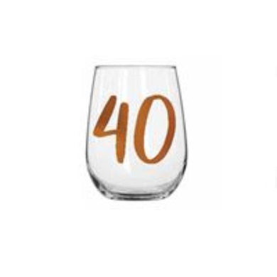 40th Rainbow Stemless WIne Glass - 600ml - The Base Warehouse