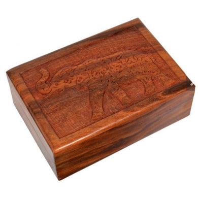 Mandala Elephant Carved Sheesham Wood Box - 18cm x 13cm - The Base Warehouse