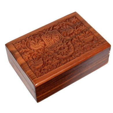 Hamsa Carved Sheesham Wood Box - 18cm x 13cm - The Base Warehouse