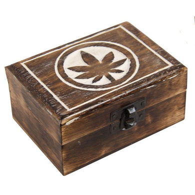 Mango Wood Box with Pot Leaf Design - The Base Warehouse