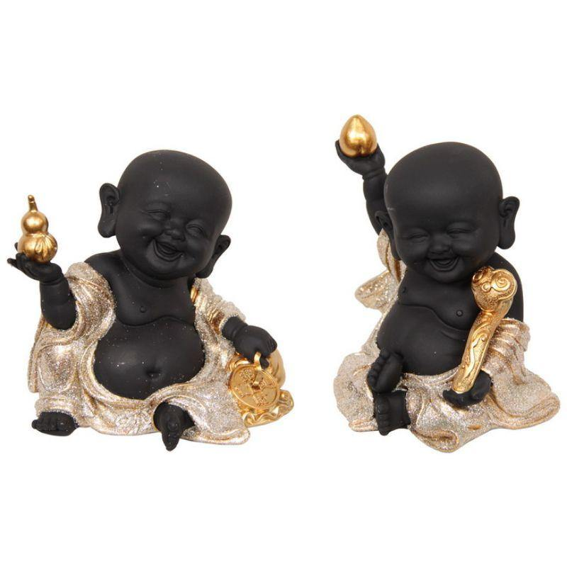 Black/Gold Happy Buddha Monks - 13cm