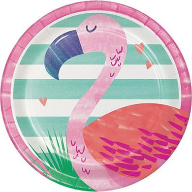 6 Pack Flamingo Striped Paper Plates - The Base Warehouse