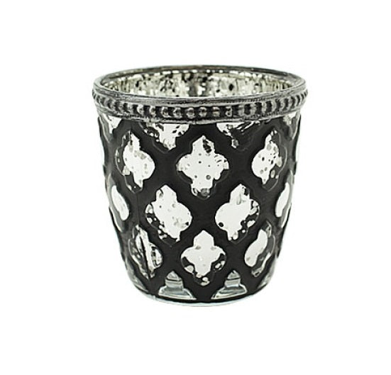 Black & Clear Glass Candle Holder with Cross Pattern