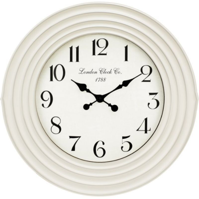 White Clock with Rippled Decorative Edges - 58cm