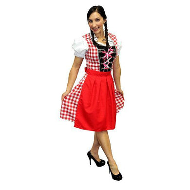 Womens Red Oktoberfest Beer Maiden Costume - The Base Warehouse