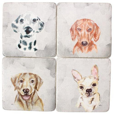 4 Piece Puppy Dog Resin Drink Coaster Set - The Base Warehouse
