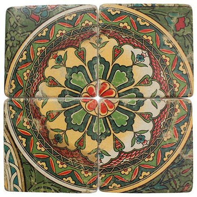 4 Piece Antique Green Printed Resin Drink Coaster Set - The Base Warehouse