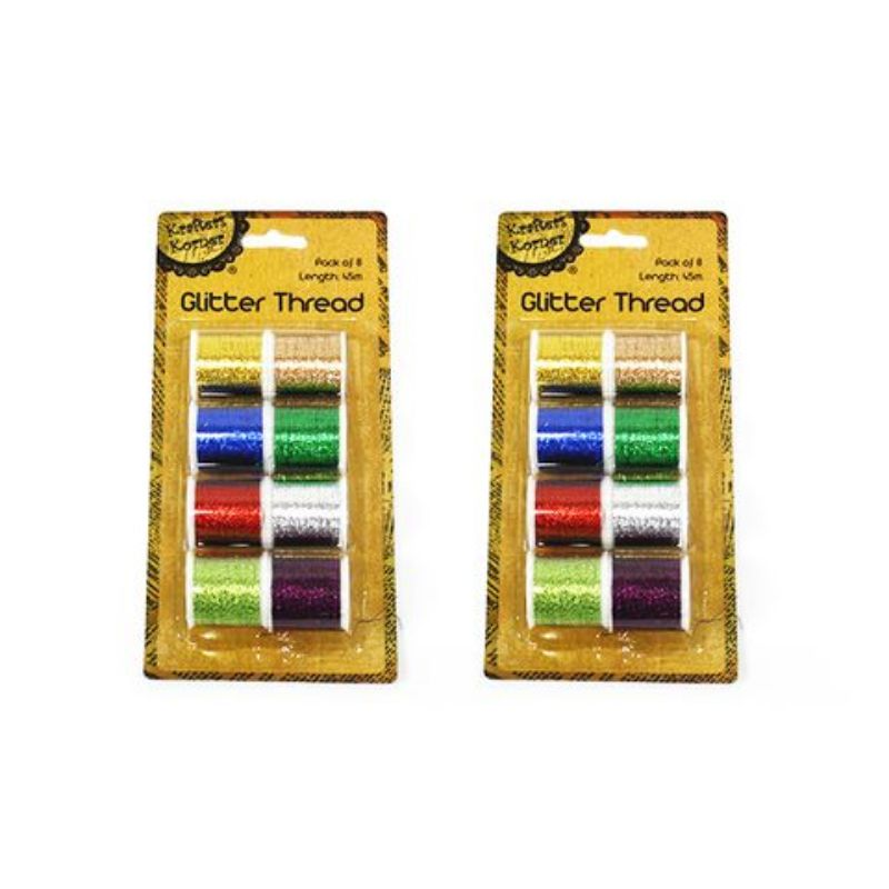 8 Pack Glitter Thread - 45m