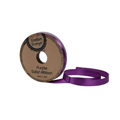 Satin Purple Ribbon - 10mm x 10m - The Base Warehouse