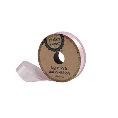 Satin Light Pink Ribbon - 15mm x 4m - The Base Warehouse