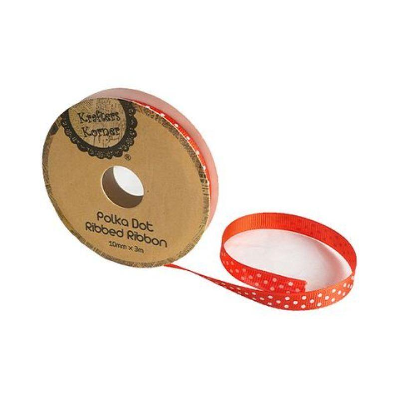 Red White Dot Ribbon - 10mm x 3m