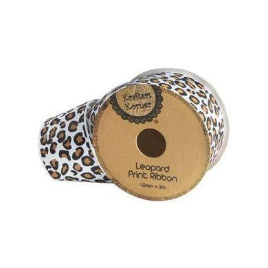 White Leopard Ribbon - 40mm x 3m - The Base Warehouse