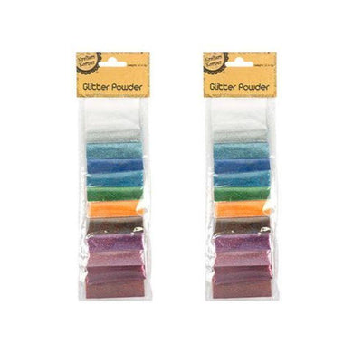 12 Pack Coloured Glitter Powder - 2g - The Base Warehouse