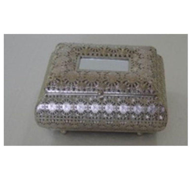 Metal Trinket Box with Mirror - 24cm x 19cm x 13cm - The Base Warehouse