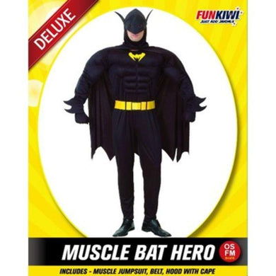 Mens Deluxe Muscle Bat Hero Costume - The Base Warehouse